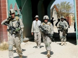 U.S. soldiers on a joint patrol with the Afghan National Army