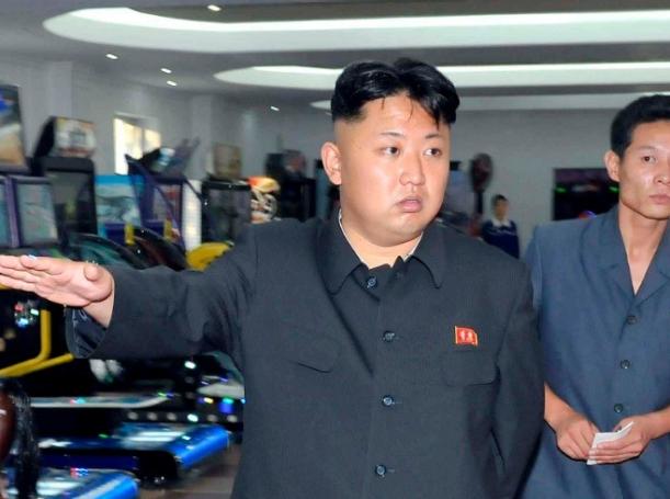 North Korea's leader Kim Jong-un visits a newly built arcade at the amusement house of the Rungna People's Pleasure Park