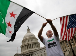 Syrian-Americans rallying in favor of proposed U.S. military action, outside the U.S. Capitol