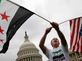 Syrian-Americans rallying outside the U.S. Capitol in favor of proposed U.S. military action
