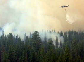 California Air National guardsmen perform precision water bucket drops near Yosemite