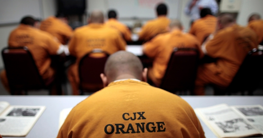 Inmates in a classroom at the Orange County jail