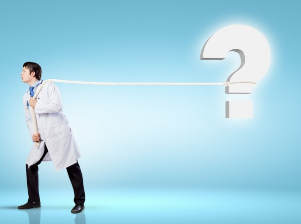 doctor and question mark blue background