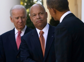 President Barack Obama shakes hands with Jeh Johnson during an announcement for Johnson to be his nominee for Secretary of Homeland Security