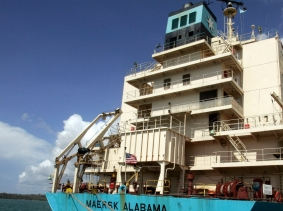 The U.S.-flagged Maersk Alabama container ship docked at the Kenyan coastal sea port of Mombasa, April 12, 2009