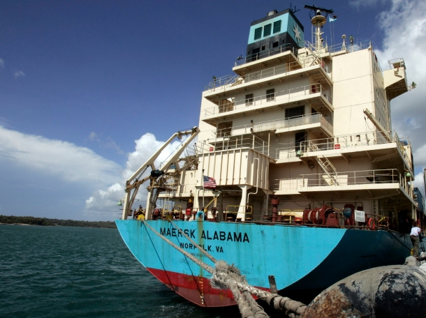 The U.S.-flagged Maersk Alabama container ship docked at the Kenyan coastal sea port of Mombasa, April 12, 2009