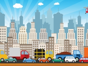 illustration of cars, trucks, buses, and helicopter traveling in a city
