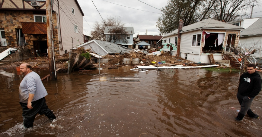 flooding left by the storm surge of Superstorm Sandy in the New Dorp Beach neighborhood of  Staten Island