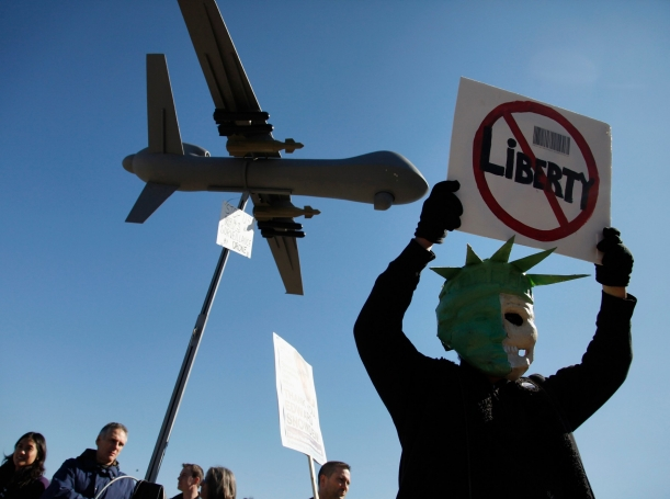 A protester during a rally against mass surveillance near the U.S. Capitol