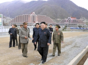 North Korean leader Kim Jong Un visits the construction site of a ski resort on Masik Pass