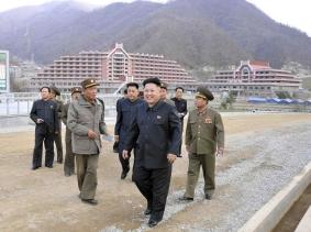 North Korean leader Kim Jong Un visits the construction site of a ski resort on Masik Pass