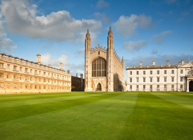 King's College campus in Cambridge, England as seen on a sunny day.