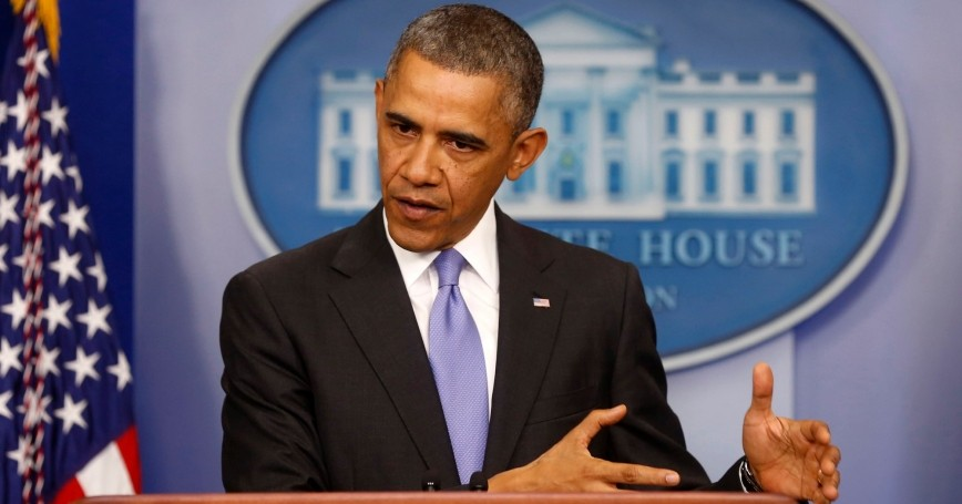 U.S. President Barack Obama talks about the Affordable Care Act