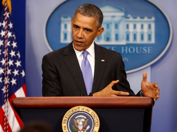 U.S. President Barack Obama talks about the Affordable Care Act in the Brady Press Briefing Room at the White House in Washington, November 14, 2013