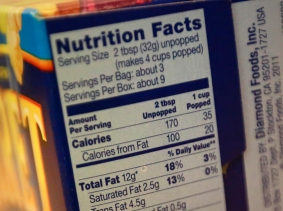 Nutrition facts on a microwave popcorn box