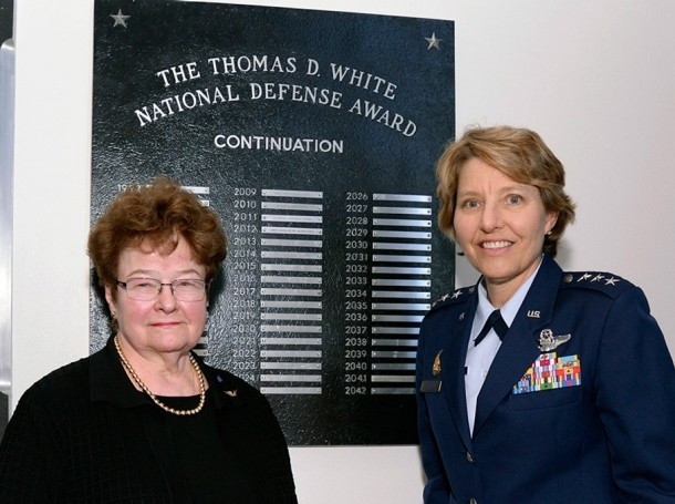 Natalie Crawford stands with U.S. Air Force Academy Superintendent Lt. Gen. Michelle D. Johnson in Arnold Hall, Nov. 1
