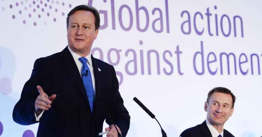 Britain's Prime Minister David Cameron speaks at the G8 Dementia Summit