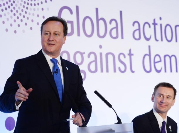 Britain's Prime Minister David Cameron speaks at the G8 Dementia Summit