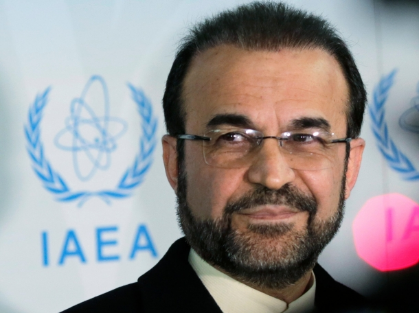 Iran's ambassador to the International Atomic Energy Agency Reza Najafi attends a news conference in Vienna