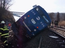 Hudson Line derailment recovery operations in New York