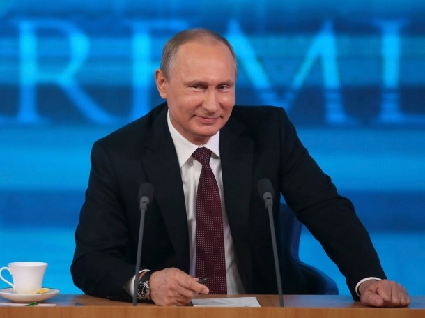 Russian President Vladimir Putin in a televised news conference in Moscow