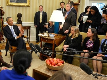 President Barack Obama and First Lady Michelle Obama discuss the Affordable Care Act with mothers