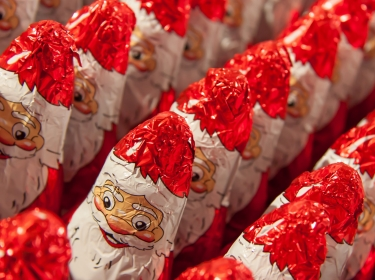 Candies in Santa Claus wrappers