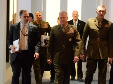 Marine Corps Commandant James F. Amos talks to RAND's Seth Jones  during a visit to RAND's Washington office Tuesday.