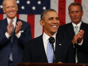 President Barack Obama finishes his State of the Union speech on Capitol Hill in Washington, January 28, 2014