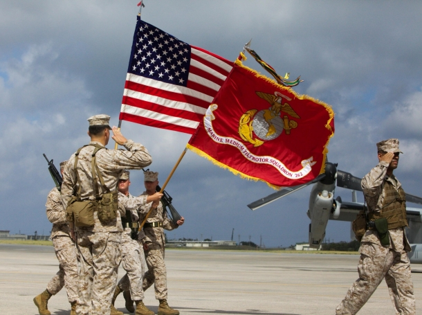 a redesignation ceremony at Marine Corps Air Station Futenma