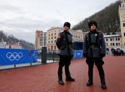 Russian Cossacks stand guard near the Rosa Khutor Alpine Resort in Krasnaya Polyana near Sochi