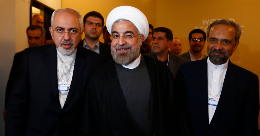 Iran's Foreign Minister Mohammad Javad Zarif, President Hassan Rouhani, and Mohammad Nahavandian, the Head of Iran Presidential Office, at the World Economic Forum in Davos January 22, 2014