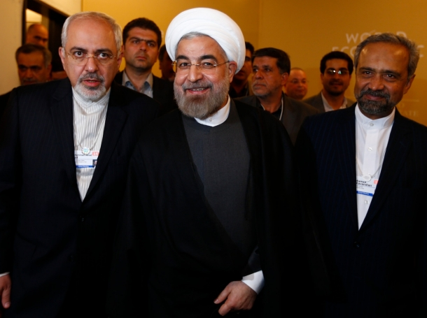 Foreign Minister Mohammad Javad Zarif, President Hassan Rouhani, and Mohammad Nahavandian at the World Economic Forum