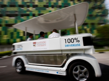 A driverless electric vehicle at the Nanyang Technological University in Singapore