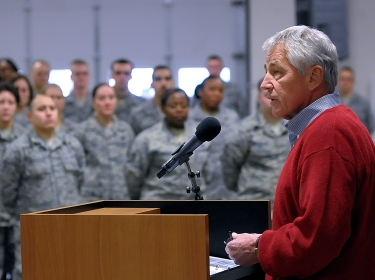 Defense Secretary Chuck Hagel visited Airmen from the 90th Missile Wing to learn about the ICBM mission and the people who operate, maintain, secure, and support the Minuteman III weapon system