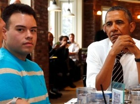 President Obama at lunch with ACA supporters