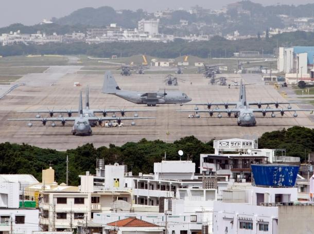 Hercules aircraft parked on the tarmac at Marine Corps Air Station Futenma in Ginowan on Okinawa