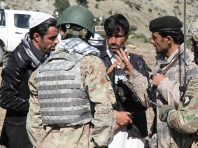 Afghan Uniformed Police and Afghan Border Police leading a presence patrol