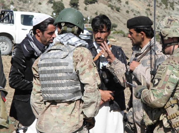 Afghan Uniformed Police and Afghan Border Police leading a presence patrol