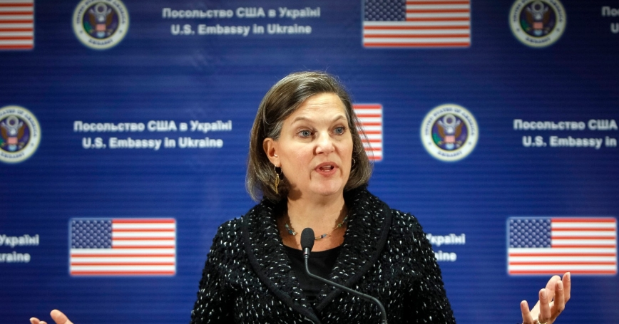 U.S. Assistant Secretary of State Victoria Nuland addresses a news conference at the U.S. embassy in Kiev