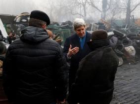 U.S.Secretary of State John Kerry at the Shrine of the Fallen in Kiev, Ukraine March 4, 2014