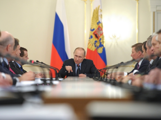 Russian President Vladimir Putin chairs a government meeting