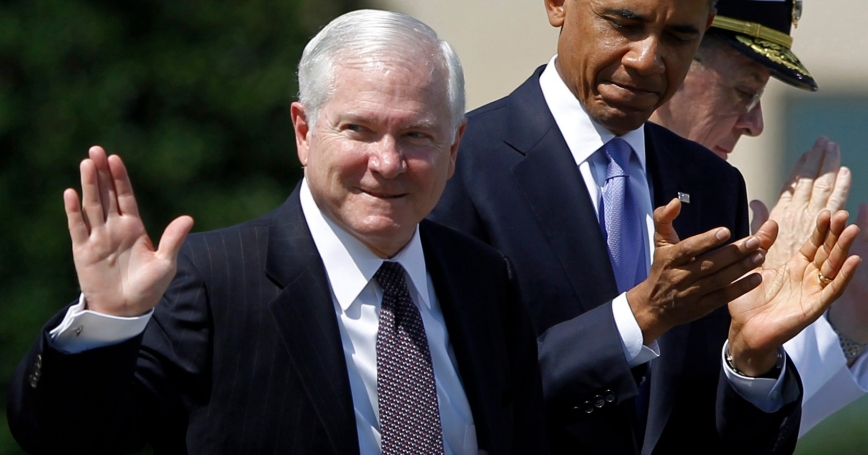 Retiring U.S. Defense Secretary Robert Gates at his farewell ceremony on June 30, 2011