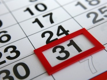 calendar with the 31st highlighted