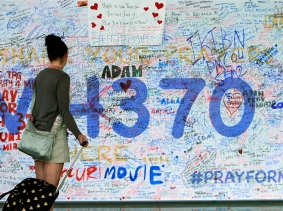 Messages of support left for family members and passengers onboard the missing Malaysia Airlines Flight MH370 at the Kuala Lumpur International Airport