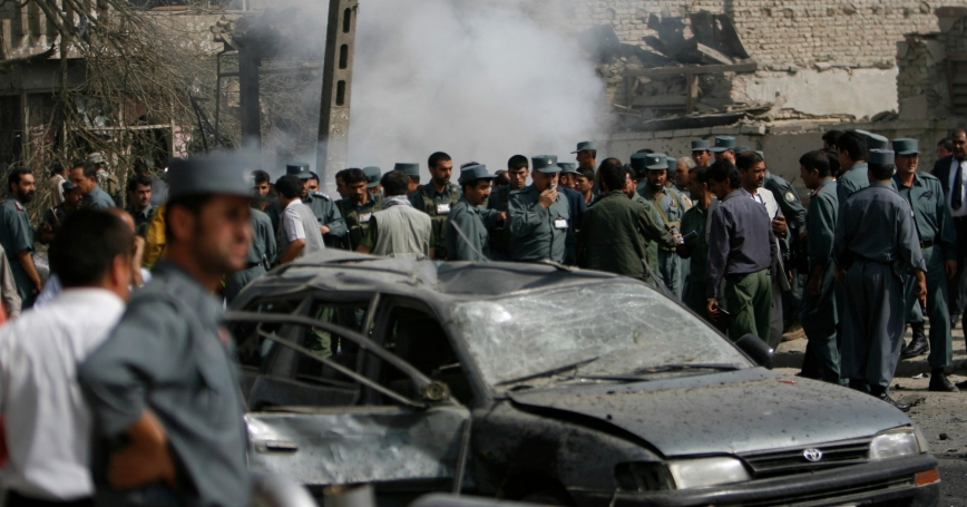A suicide car bomb hit two diplomatic vehicles entering the Indian Embassy in Kabul on July 7, 2008