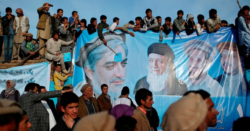 Supporters of Afghan presidential candidate Abdullah Abdullah attend an election campaign in Panjshir province March 31, 2014