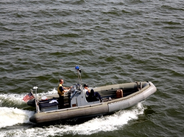 A U.S. Navy boat patrols the waters of Nigeria's Lagos harbor, March 24, 2009