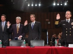 Virginia Senators George Allen and John Warner, Virginia Governor Mark R. Warner, and Chief of Naval Operations Adm. Mike Mullen testifying to the Defense Base Realignment and Closure Commission in 2005