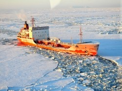 Russian-flagged tanker Renda navigates through ice on its way to the Alaskan port of Nome